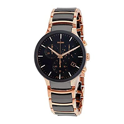 Rado Centrix Mens Watch with Chronograph, Black Ceramic and Steel Gold r30187172.
