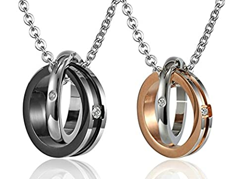 Couples Double Rings Stainless Steel Pendant Necklace Black Rose Gold