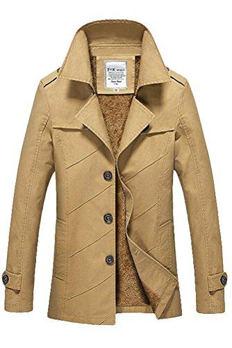 Vogstyle Herren Jungen Langarm Cabanjacke Reverskragen Trenchcoat Mantel Kurzmantel Einreihig Jack Anzug Art 1 Hellgelb Fur