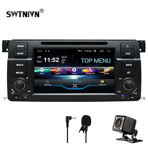 SWTNVIN Android 9 Auto Audio Stereo Kopfeinheit passt für BMW E46 DVD Player Radio 7 Zoll HD Touchscreen GPS Navigation mit Bluetooth WiFi Lenkradsteuerung 2GB + 32GB