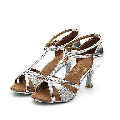 Ruhe @ Damen Girl 's Sandalen Salsa/Samba/Latin Dance Schuhe Satin/Sparkling Glitter Ferse (mehr Farbe) Braun