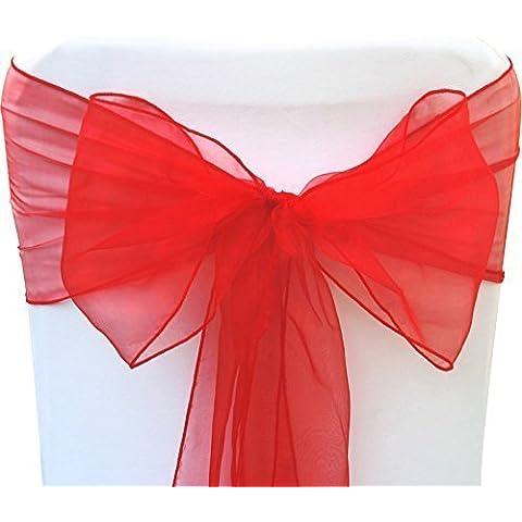 100 Organza Sash per Coprisedie - Decorativo Pieno Fiocco per il matrimonio, Anniversario e feste - Colorato Nastro per Sedute - Rosso, 17cm X 280cm - Organza Sash
