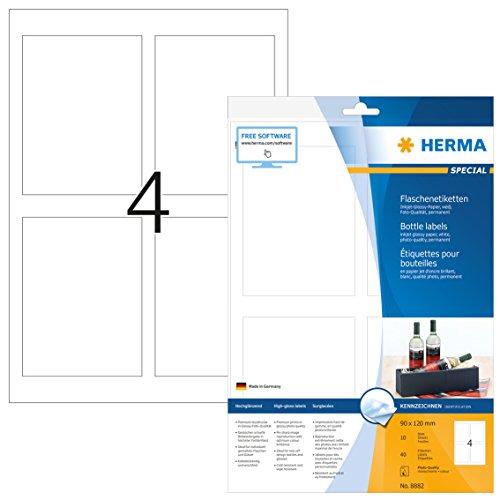 Herma 8882 Flaschenetiketten Tintenstrahldrucker, Fotoqualität, 40 St. (90 x 120mm, A4 Papier weiß) 10 Blatt, selbst bedruckbar, klebend, Inket