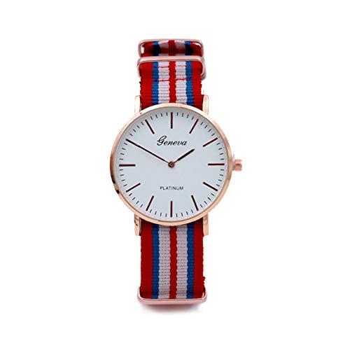 Sungpunet orologio da polso con cinturino in pelle analogica al quarzo con cinturino in nylon orologio da polso con cinturino in cotone color argento con cinturino da 7 lancette (rosso blu e bianco)