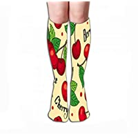 """Jiuyiqiw1 Socks 19.7""""(50cm) for Women & Men - Best for Running, Athletic Sports, Crossfit, Flight Travel pattern red cherries green leaves beige background words cherry berry juice Colored"""