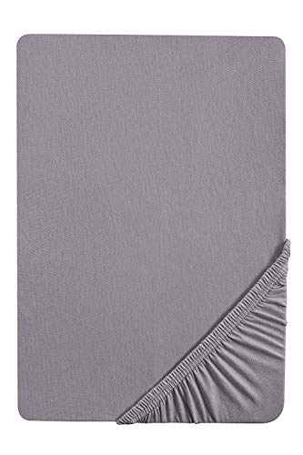 biberna 77144 Jersey-Stretch Spannbetttuch, nach Öko-Tex Standard 100, ca. 90 x 190 cm bis 100 x 200 cm, Grau (Silber/Grau)