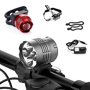 Tobole Faro Delantero 8000LM 5x LED CREE XM-L T6 para Bici Bicicleta MTB con Pack de Batería Recargable