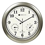 """Ambient Weather RC-1800WSTH 18"""" Indoor / Outdoor Radio Controlled Wall Clock with Temperature"""