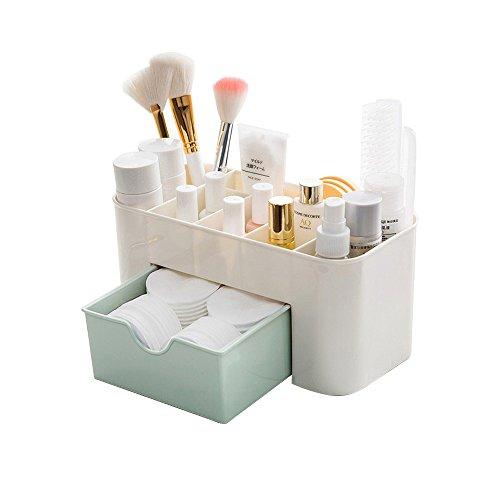 Caja de almacenaje de maquillaje de escritorio con cajones, BAFFECT Accesorios de cosméticos Organizador de cajones de división Oficina de cajón de escritorio Organizador de (verde)