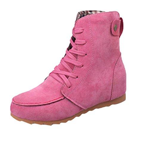 Damen Schuhe DEELIN Frauen Flache Knöchel Schnee Motorradstiefel Karneval Leder Weiblicher Veloursleder Schnürstiefel (36, Pink)