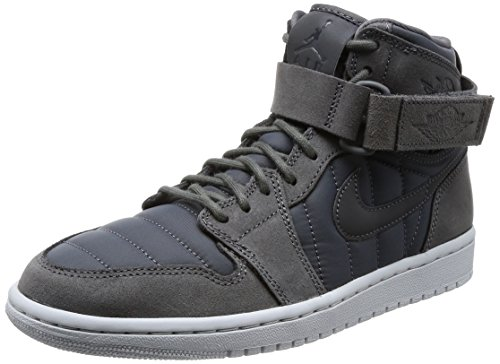sports shoes c3623 f4ca0 NIKE Men s Air Jordan 1 High Strap Basketball Shoes, Black Dark Grey-Pure  Platinum