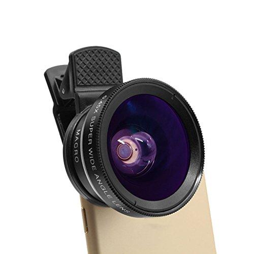 GXWFUI Handy Objektiv - 2 in 1 Adapter Clip-on Kamera Lens Handy Linsen Objektiv Set mit Weitwinkelobjektiv Makro Objektiv Für iPhone iPad Samsung Huawei und Die Meisten Android Smartphone und Tablet (Mobile Arbeit-feld)