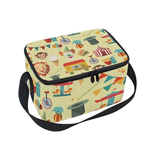 Lustige Clown Circus Elements Isolierte Lunchbox Tasche mit Gurt für Schule Büro Kühltasche Herren Damen Kinder Mädchen Jungen Erwachsene