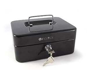 Boîte en métal pour les billets Incutex stockage et des pièces, Geldbox noir, noir cassette métallique pour compléter arrêt /, coffre-fort de trésorerie, avec la clé
