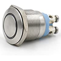 "heschen 19mm (3/4"") Metal Momentáneo Pulsador Interruptor 220VAC Eagle Eye LED blanco 5A 250VAC 4tornillo IP67"