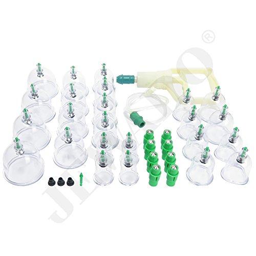 Schröpfen Set für Vakuum Massage aus Kunststoff + Vakuumpumpe im Set mit 24 Schröpfgläser