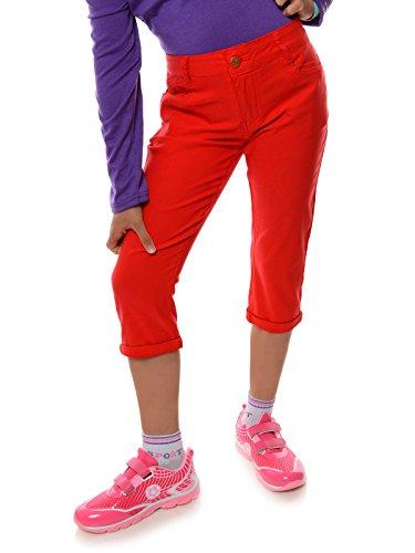 BEZLIT Mädchen Kinder Kurze Hose Strech Capri 3/4 Stoff Shorts Skinny 22142 Rot Größe 152