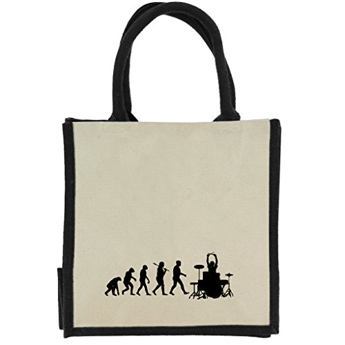 1 Stop Evolution of Trommeln in schwarz Druck auf Jute Midi Einkaufstasche mit schwarzen Griffen und Rand