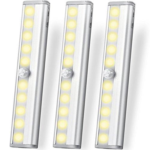 LED Leiste Batteriebetrieben - LED Schrankbeleuchtung Mit Bewegungsmelder - Led Leiste Batterie / Badezimmer / Flur / Küche - 10 LED PIR Wandleuchte - Olixar Motion Sensor LED - Länge 19cm - 3er Pack