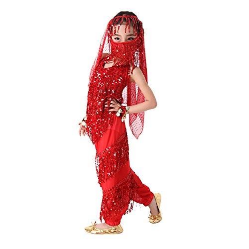 SymbolLife Mädchen Bauchtanz Kostuem kinder tanzkleid, Trägertop + Pluderhosen + Kopftuch+ Armbänder+ Handtuch S Rot