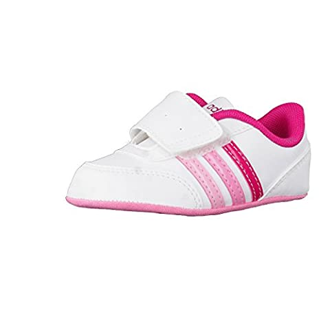 adidas Kinder-Unisex V Jog Crib Turnschuhe, Bianco (Ftwbla/Rosfue/Rossen), 20 EU