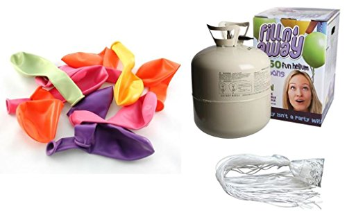 allonservice SET: Helium Ballongas + 50 bunte Ballons + 50 Fäden/Schnellverschlüsse ()
