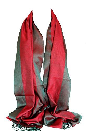 Double soie réversible bicolore Wrap Echarpe étole châle Hijab tête foulards Rouge & vert