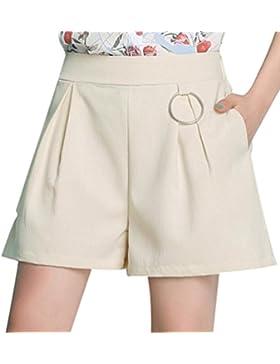 YiLianDa Mujeres Casual Cintura Elástica Pantalones Cortos