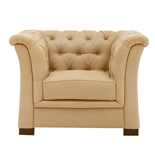 Curve Arm Tufted Beige- Single Seater Sofa