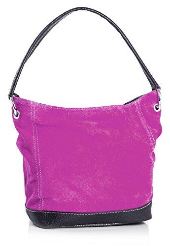 Big Handbag Shop - borsa con manico in vera pelle scamosciata italiana, con finiture in similpelle Magenta Pink (GU259)