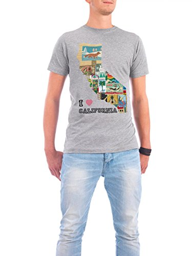 "Design T-Shirt Männer Continental Cotton ""California Collage"" - stylisches Shirt Reise Reise / Länder von Claudia Schön Grau"
