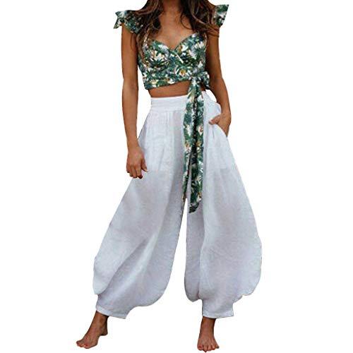XZDCDJ Weite Hose Damen Sommer Locker Baggyhose Freizeithose Pumphosen Hose 7/8 Damen High Waisted Loose Culottes Pants Damen Wide Leg Yoga Freizeithose(Weiß,S) (High-waisted Shorts Muster)