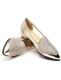 SHINIK Zapatos de mujer Tulle Spring Summer Slip-Ons y holgazanes Confort Sandalias Block Heel Rhinestone del...