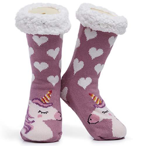 Calcetines para mujer y niña, de alta calidad, suaves, para el hogar, tallas 4 a 8, diseño de búhos y gatos, regalo bonito y antideslizante Talla única (Rosa Oscuro Unicornio)