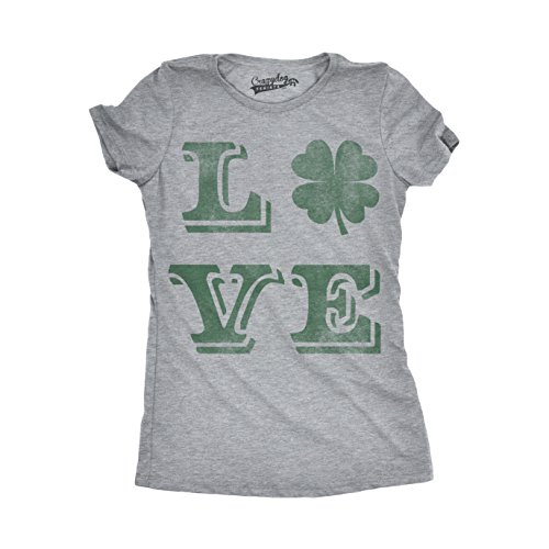 Crazy Dog Tshirts - Womens Love Lucky Clover -