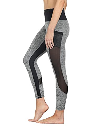 icyZone® Frauen Fitness/Workout Leggings Mesh Patchwork Leggings Skinny hohe Taille Push-Up Hose (Grey, (Compression Capri Tights)