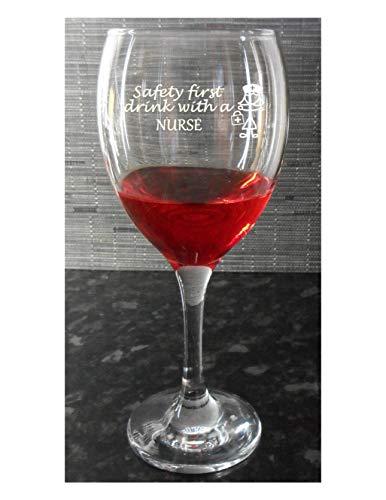 Weinglas, Geschenk für Krankenschwestern,Safety First Drink with A Nurse