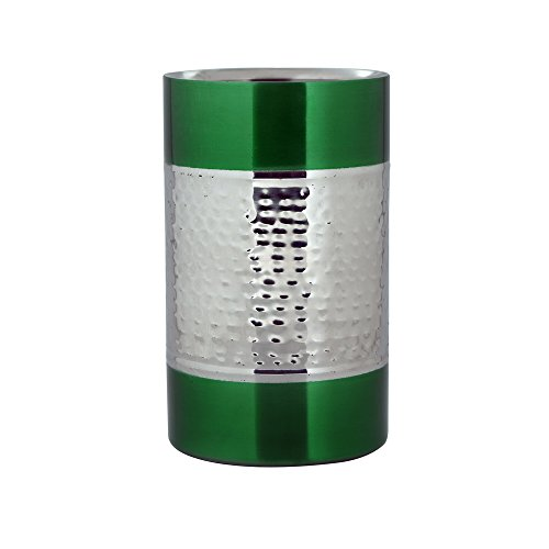 kosma-stainless-steel-wine-cooler-double-wall-wine-chiller-drink-cooler-in-green-colour-hammered-fin