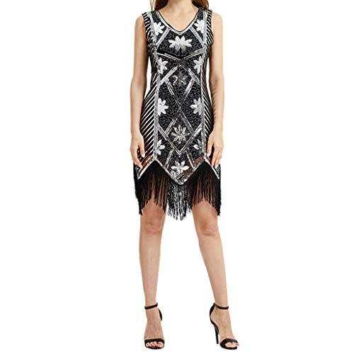 Kleider Damen,SANFASHION Damen Kleid Retro 1920s Stil Flapper Kleider voller Pailletten Runder Ausschnitt Great Gatsby Motto Party Kleider Damen Kostüm - Blumige Kleid Kostüm