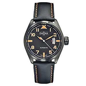 Davosa Swiss Military 16151194 Analog Men Wristwatch Black Genuine Leather