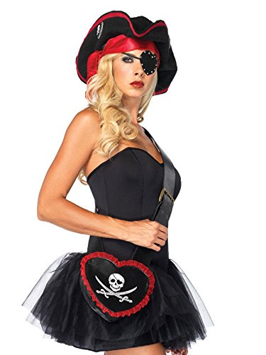 Piratin Handtasche Skull mit Rüschen schwarz rot weiss