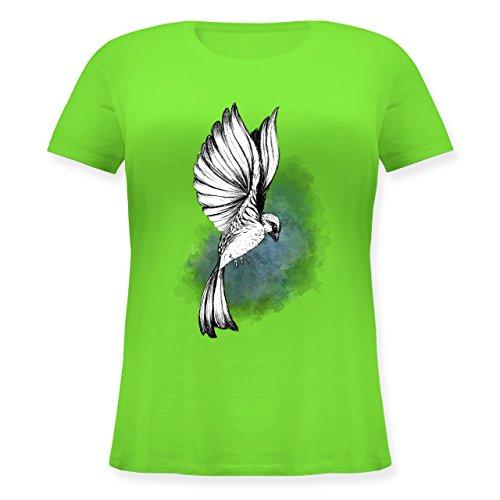 Vögel - Vogel Aquarelle Zeichnung - Lockeres Damen-Shirt in großen Größen mit Rundhalsausschnitt Hellgrün
