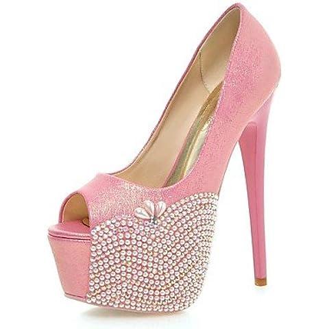 GGX/ los zapatos de cuero sintético de tacón de aguja talón de las mujeres / peep toe / sandalias de la plataforma de la boda / , 5in & over-blue