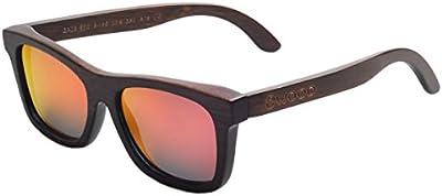 Iwood Unisex Madera marrón Pintura Marco polarizó el rojo de la lente gafas de sol de bambú