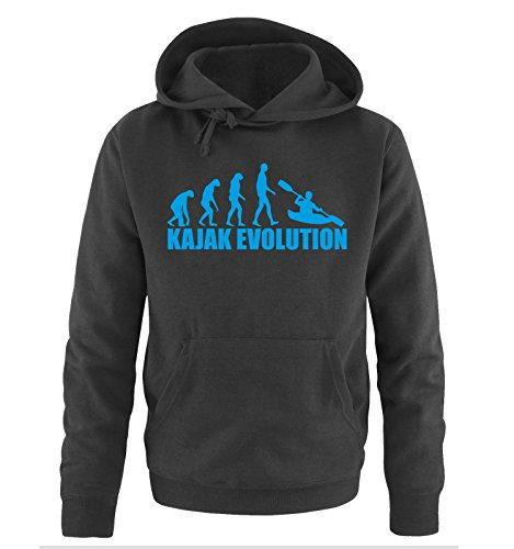 Comedy Shirts KAJAK EVOLUTION -Herren Hoodie in Schwarz/Blau Gr. S