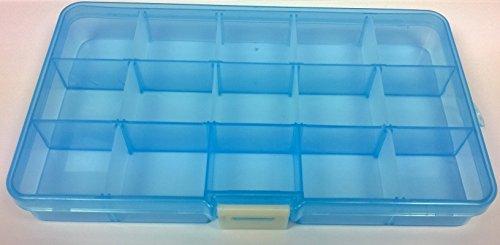 Ansio 93909 Aufbewahrungsbehälter, Kunststoff, vielfältig einsetzbar, 15 Fächer, verstellbar, für Schmuck, Werkzeug etc, - Armband Loom Organizer