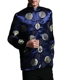 Chaqueta Blazer Clásica China Tai Chi Kung Fu de Color Rojo - Mezcla de Seda Ligera