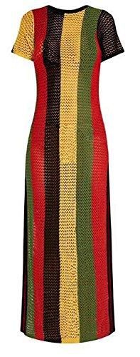 Clossy London 100% algodón egipcio Señoras Rasta Vestido de hilo de trabajo jamaicano Hendidura Ver a través Vestido de club de baile de Hip Hop multicolor (Rasta, L / XL)