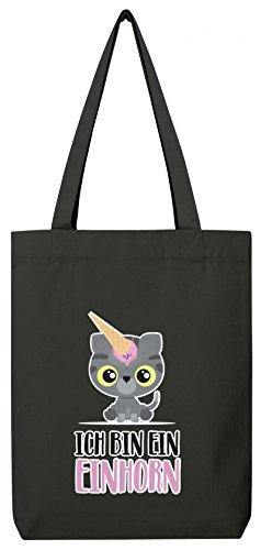 süße Geschenkidee Kätzchen Unicorn Eis Ice Cream Premium Bio Baumwoll Tote Bag Jutebeutel Stanley Stella Katze - Ich bin ein Einhorn, Größe: onesize,Black (Kätzchen Bag Tote)