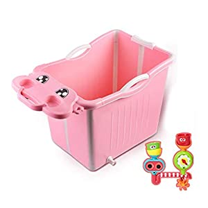 Yuany Baby bath, Faltbadewanne, baby bath, environmental protection, 80.5 * 46.5 * 51.5 cm, plastic bathtub, multi-function, children's bath, sitting (2 colors) (color: PINK)